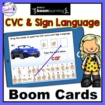 Distance Learning Boom Cards CVC WORDS & SHORT VOWELS American Sign Language
