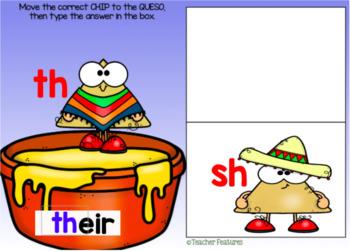 BOOM CARDS PHONICS DIGRAPHS | First Grade Phonics | Cinco de Mayo