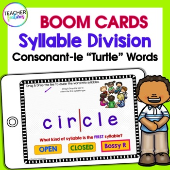 BOOM CARDS PHONICS Syllable Division Consonant -LE (Turtle Words)