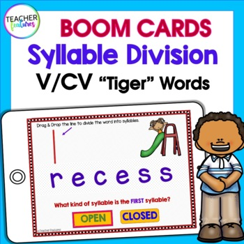 BOOM CARDS PHONICS Syllable Division Rules V/CV (Tiger Words)