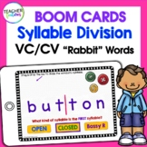DIGITAL BOOM CARDS PHONICS Syllable Division Rules VC/CV (Rabbit Words)