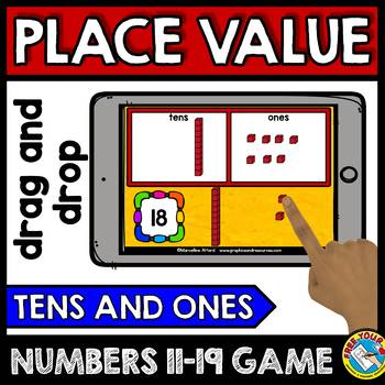 BOOM CARDS PLACE VALUE GAME (TENS AND ONES KINDERGARTEN PLACE VALUE DIGITAL GAME
