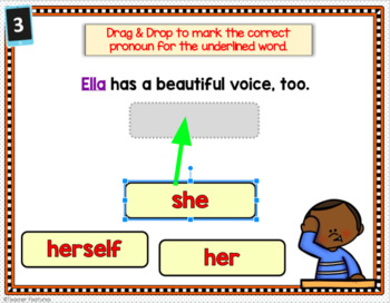 BOOM CARDS Personal & Reflexive Pronouns Digital Task Cards