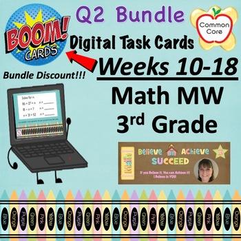 BOOM CARDS - Quarter 2 BUNDLE Spiral Review Math Morning Work - 3rd Grade