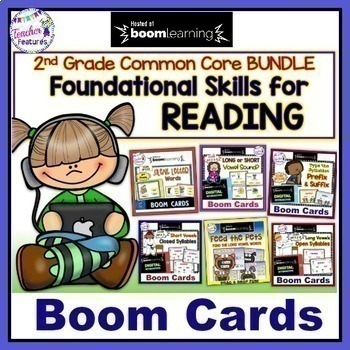 BOOM CARDS Distance Learning 2nd Grade READING & PHONICS BUNDLE