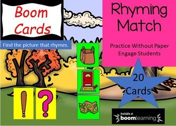 BOOM CARDS - Rhyming (CVC Pictures) FREEBIE