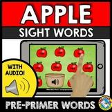 BOOM CARDS SIGHT WORDS (APPLE PRESCHOOL) SEPTEMBER ACTIVITY KINDERGARTEN CENTER