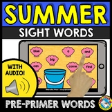PRE-PRIMER SIGHT WORDS ACTIVITY (SUMMER PACKET KINDERGARTEN ALTERNATIVE)