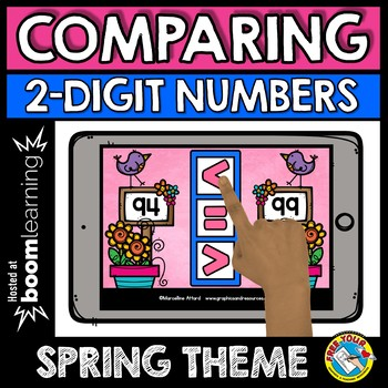 BOOM CARDS SPRING ACTIVITY FIRST GRADE (COMPARING 2 DIGIT NUMBERS USING SYMBOLS)