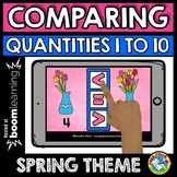 BOOM CARDS SPRING ACTIVITY KINDERGARTEN (COMPARING NUMBERS TO 10 MATH CENTER)