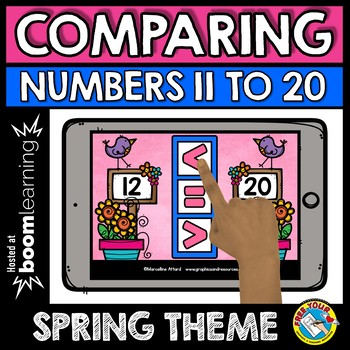 BOOM CARDS SPRING ACTIVITY KINDERGARTEN (COMPARING NUMBERS TO 20 MATH CENTER)