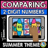 SUMMER ACTIVITY BOOM CARDS FIRST GRADE (COMPARING 2 DIGIT NUMBERS)