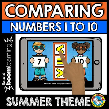 BOOM CARDS SUMMER ACTIVITY KINDERGARTEN (COMPARING NUMBERS TO 10 MATH CENTER)