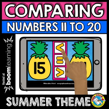 BOOM CARDS SUMMER ACTIVITY KINDERGARTEN (COMPARING TEEN NUMBERS GAME MATH CENTER