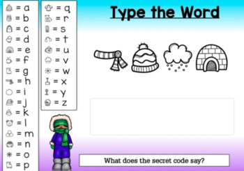 BOOM CARDS Sight Words & HFW SECRET CODE Winter Theme #1