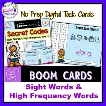 BOOM CARDS Sight Words & HFW SECRET CODE Winter Theme #4