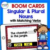 BOOM CARDS ELA WORD WORK Singular & Plural Nouns with Matching Verbs 1st Grade