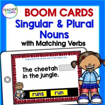 BOOM CARDS DIGITAL | Singular & Plural Nouns with Matching Verbs | 1st Grade