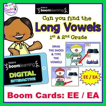 BOOM CARDS Snowman | EE  / EA | Long Vowels | Vowel Teams