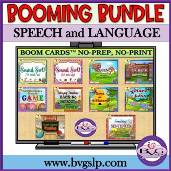 BOOM CARDS Speech Language and Literacy MEGA BUNDLE  NO PRINT - Teletherapy
