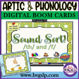Speech Therapy BOOM CARDS Sound Sort TH & F Articulation - Teletherapy