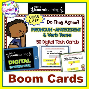 BOOM CARDS Subject-Verb Tense & Pronoun-Antecedent Agreement Digital Task Cards