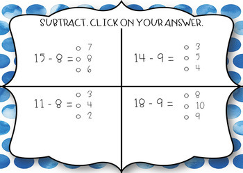 BOOM CARDS - Subtracting within 20