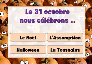 BOOM CARDS (TM) - 20 Halloween DEVINETTES (French) Vocabulaire et Lecture