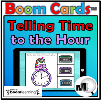 Telling Time to the Hour - Boom Cards - Free
