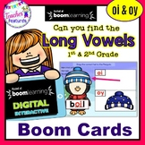 BOOM CARDS PHONICS with Penguins LONG VOWELS OI / OY