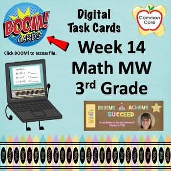 BOOM CARDS - Week 14 Spiral Review Math Morning Work - 3rd Grade