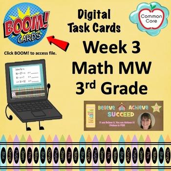 BOOM CARDS - Week 3 Spiral Review Math Morning Work - 3rd Grade
