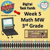 BOOM CARDS - Week 5 Spiral Review Math Morning Work - 3rd Grade