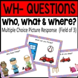BOOM CARDS: Who, What & Where (Field of 3)