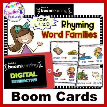 BOOM CARDS SPELLING Word Families & Rhyming Words