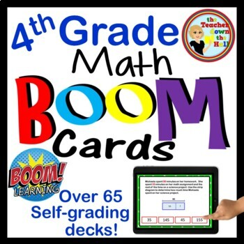 Math BOOM Cards Growing Bundle - 45 Sets of 4th Grade Math BOOM Cards!