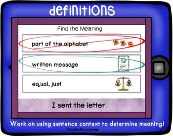 No Print Homonyms Learning Multiple Meanings Activities BOOM Cards Set 4