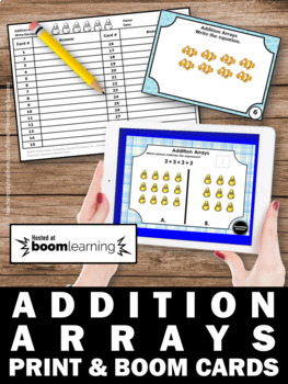 BOOM Cards Math Repeated Addition Arrays Digital Task Cards for Google Classroom