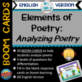 BOOM Cards: Analyzing Poetry (Elements of Poetry) English Version