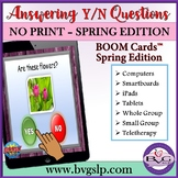 BOOM Cards Answering Yes No Questions - SPRING EDITION Teletherapy