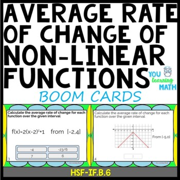 Calculating the Average Rate of Change: DIGITAL BOOM Cards (20 Task Cards)