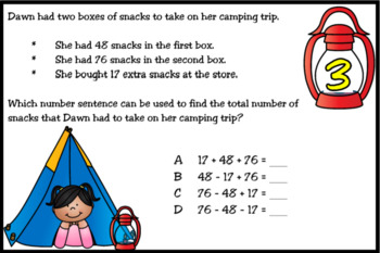 BOOM Cards: Camp Out With Equations (TEKS 3.5A)