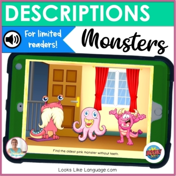 BOOM Cards | Speech Therapy | Teletherapy | Describing a Monster | Directions