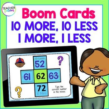BOOM CARDS MATH | Digital Task Cards | 10 More, 10 Less