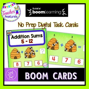 BOOM CARDS MATH | Addition Facts Honeybee Theme
