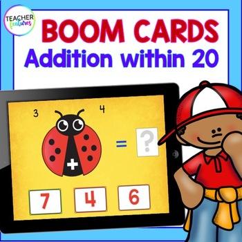 BOOM CARDS MATH | DIGITAL ADDITION FACTS Ladybug Theme 1st Grade