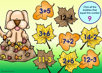 BOOM Cards (Digital Task Cards): Addition & Subtraction Facts: Autumn Leaves