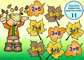 BOOM CARDS MATH Fall Addition & Subtraction Facts