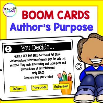 BOOM CARDS DIGITAL READING Author's Purpose
