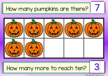 BOOM CARDS MATH Kindergarten BASE TEN & SUBITIZING Halloween theme